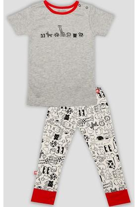 Boys Round Neck Printed Pants and Tee Set