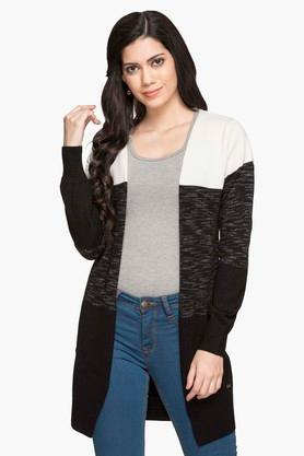 PARK AVENUE Womens Open Front Colour Block Cardigan