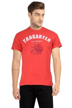 Mens Regular Fit Round Neck Graphic Print T-Shirt