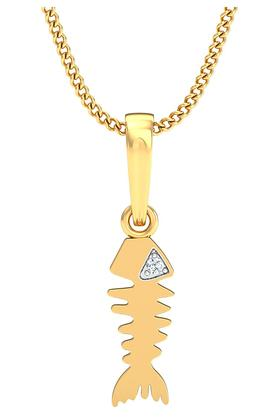 P.N.GADGIL JEWELLERS Womens Fish Diamond Pendant DJPD-103