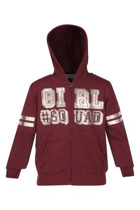 Girls Hooded Printed Jacket