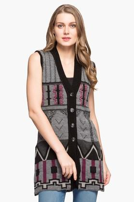 ONER Womens V-neck Printed Cardigan - 203138534