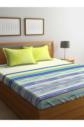 PORTICOStripe Double Bed Sheet With Pillow Cover - 203989983_9900