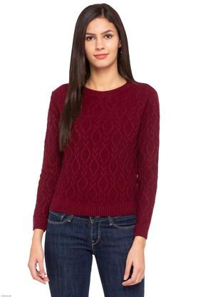 5987adff9 X RS BY ROCKY STAR Womens Round Neck Knitted Pattern Sweater