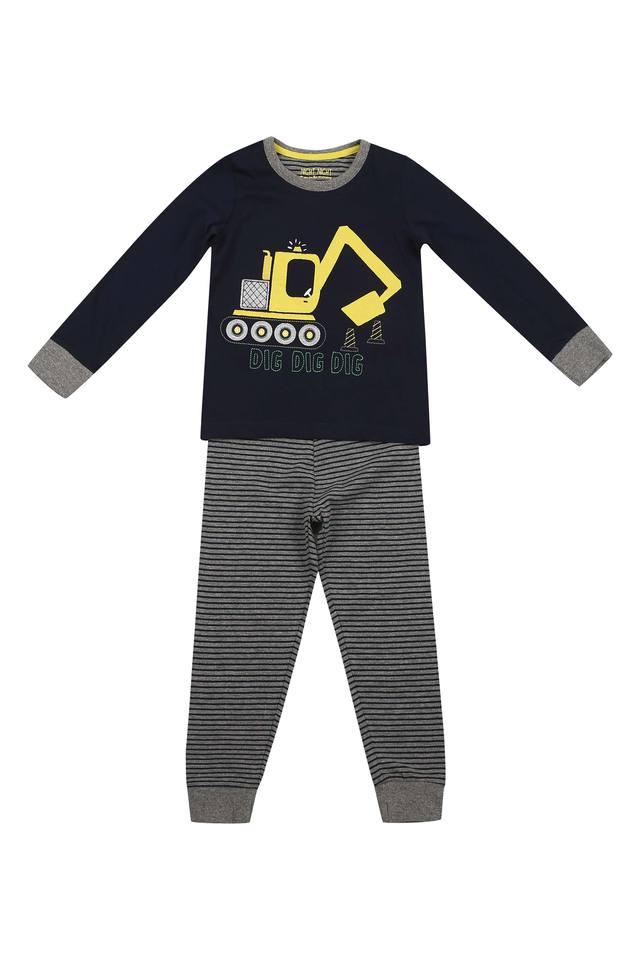 Boys Round Neck Printed Pants and Tee