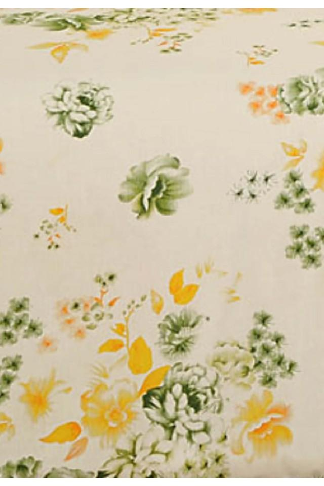 Off White and Yellow Floral Double AC Comfortor