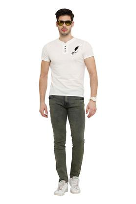Mens Notched Neck Solid T-Shirt