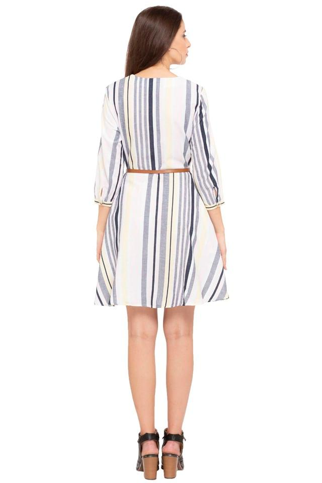 Womens V Neck Striped A-Line Dress