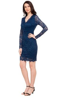 Womens V Neck Lace Bodycon Dress