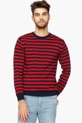 INDIAN TERRAINMens Round Neck Stripe Sweater