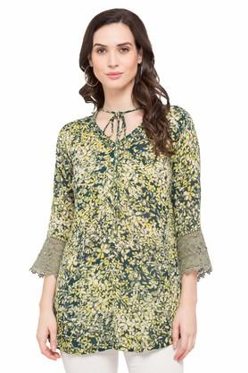Womens Tie Up Neck Printed Kurti