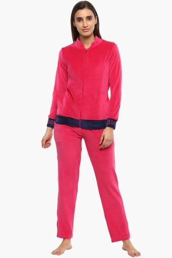 Womens Zip Through Neck Solid Sweatshirt and Pyjama Set