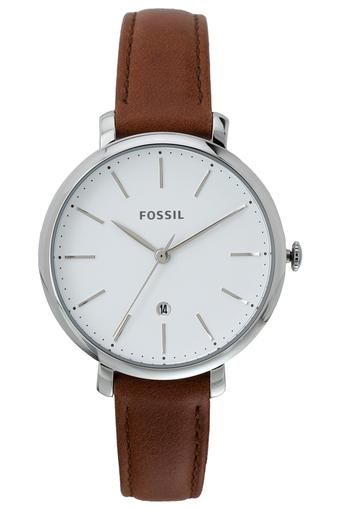 Womens White Dial Leather Analogue Watch - ES4368