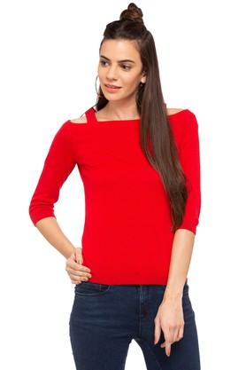 ONLY Womens Strappy Neck Solid Pullover