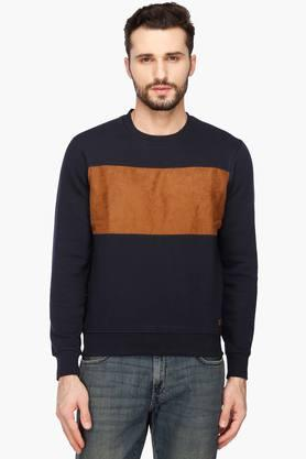 PARX Mens Round Neck Colour Block Sweatshirt