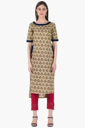 INDYA Womens Round Neck Printed Regular Fit Kurta - 203316685