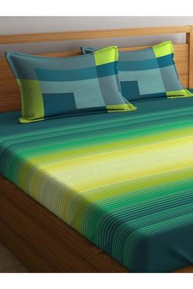 PORTICOStripe Double Bed Sheet With Pillow Cover - 203990090_9900