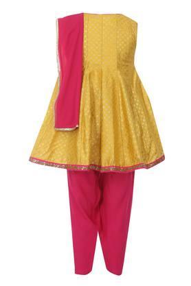 Girls Tie Up Neck Printed Salwar Suit