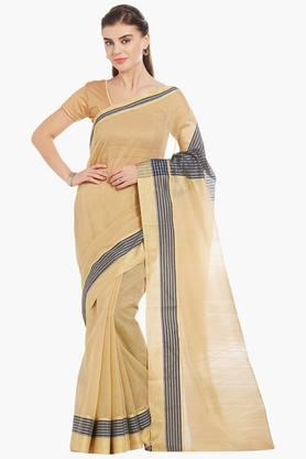 JASHN Womens Gold Self Woven Supernet Saree