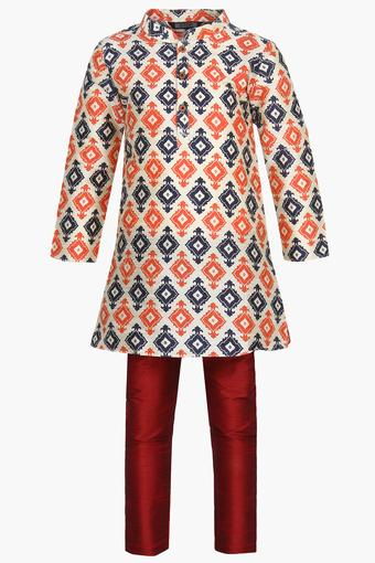 Boys Mandarin Neck Printed Kurta and Pyjama Set