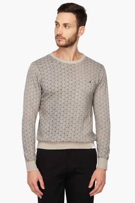 ALLEN SOLLY Mens Round Neck Printed Sweater
