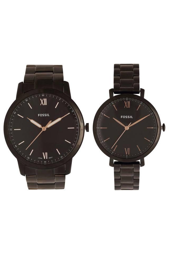 Black Dial Metallic Analogue Couple Watch - FS5514SET