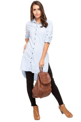 Womens Collared Solid Long Shirt