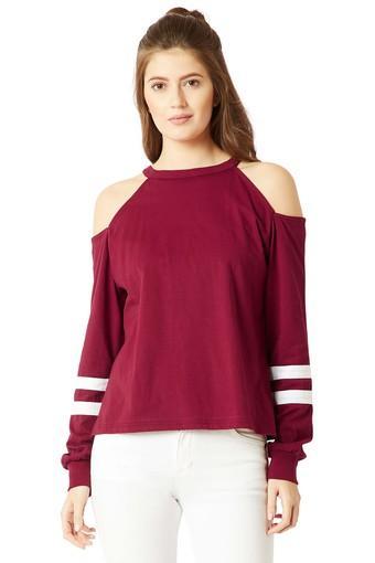 Womens Round Neck Solid Sweatshirt