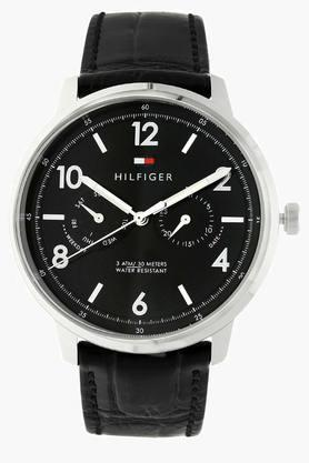 TOMMY HILFIGERBlack Dial Leather Strap Watch - TH1791356J