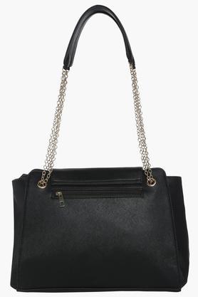 Womens Metallic Lock Closure Shoulder Handbag