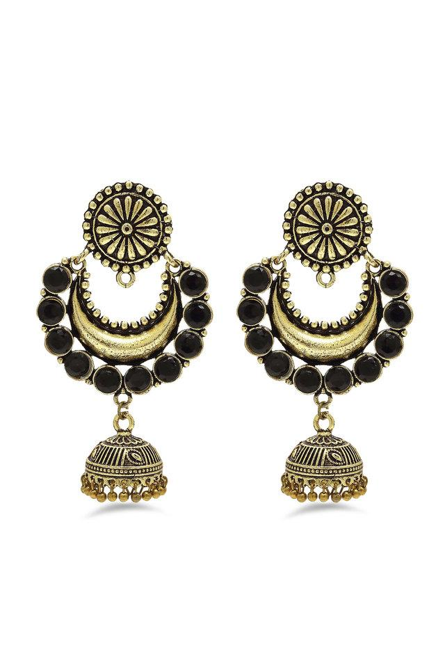 Womens Stone Studded Gold Plated Dangler Earrings