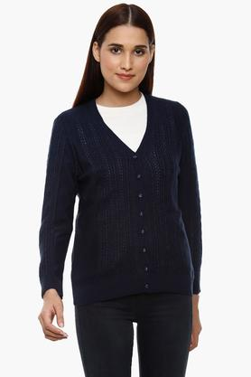 APSLEY Womens V-Neck Knitted Pattern Cardigan - 204730542_9308