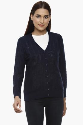 APSLEYWomens V-Neck Knitted Pattern Cardigan - 204730542_9308