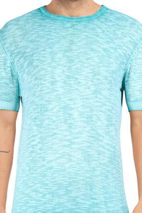 Mens Round Neck Textured Sweater
