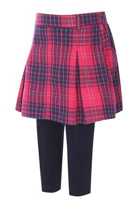 Girls Checked Skirt and Solid Leggings