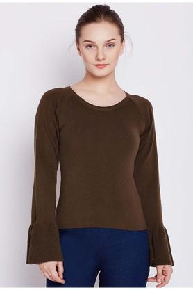 COVER STORY Womens Round Neck Solid Pullover