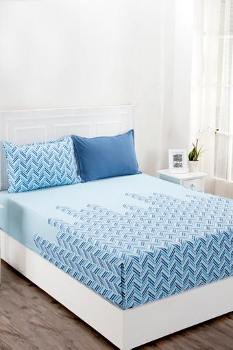 Superfine Cotton Blue King Bedsheet with 2 Pillow Covers - 210 TC