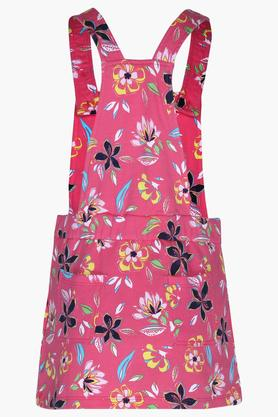 Girls Square Neck Printed Dungarees