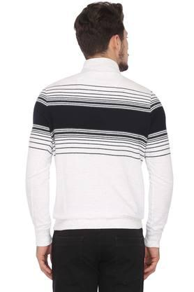 Mens High Neck Striped Sweater