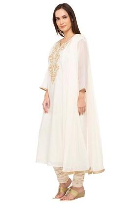 Womens Notched Collar Embroidered Churidar Suit
