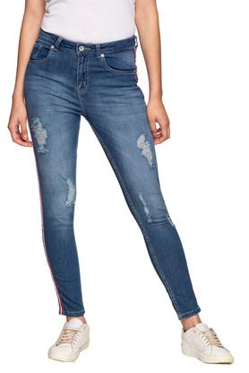 Womens 5 Pocket Mild Wash Side Tape Jeans