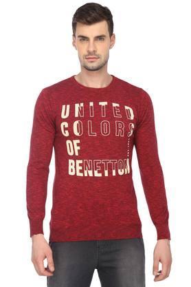 UNITED COLORS OF BENETTONMens Round Neck Slub Sweater