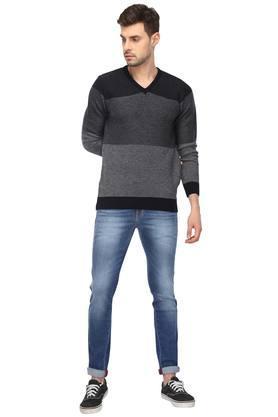 Mens V-Neck Colour Block Sweater