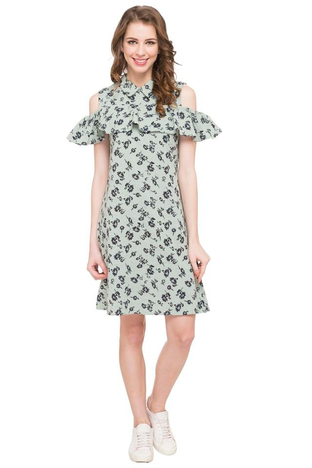 Womens Collared Printed Shift Dress