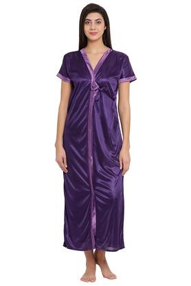 Womens V Neck Solid Robe