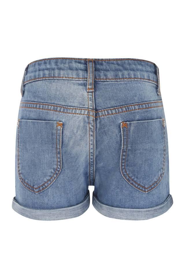 Girls 5 Pocket Solid Shorts