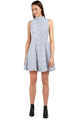Womens High Neck Printed A-Line Dress