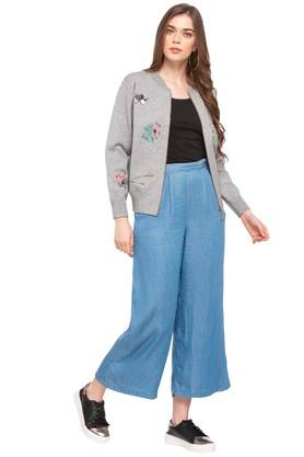 Womens 2 Pocket Rinse Wash Palazzo Pants