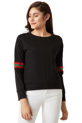 MISS CHASEWomens Round Neck Solid Sweatshirt