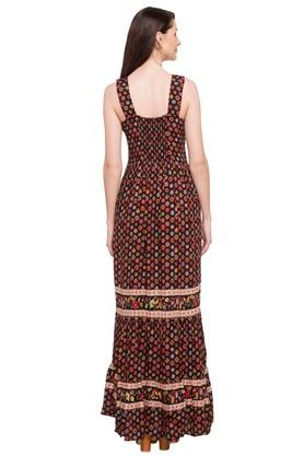 Womens Strappy Neck Printed Maxi Dress